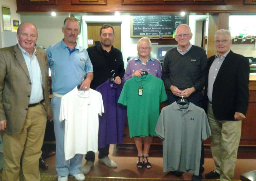 Pictured at the Jan Bowers Memorial Golf Day are, from left, Vaughan Mizon with the winners Joe Davis, John Kennedy, Ann Thompson, Doug Renyard and Peter Bowers.