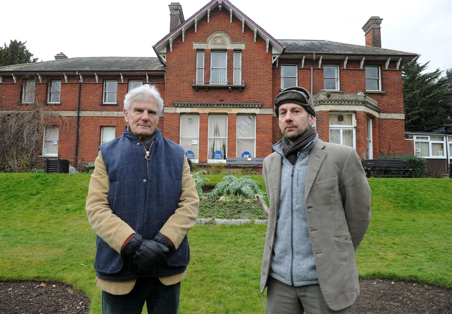 Andrew Phillips (left) strongly opposes demolishing Belle Vue House in Sudbury, pictured with Theo Bird who has previously campaigned to save the site.