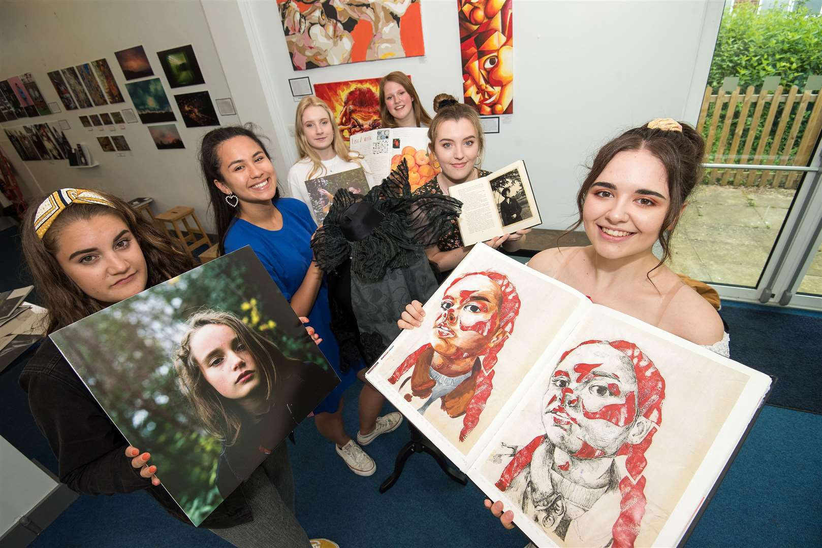 Rosina Wager, Lucia Henry, Abigail Kerry, Freya Willcox, Jess Hobbs and Rachel Simpson at the A-level Art Exhibition. Picture by Mark Westley.