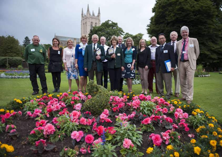 Anglia in Bloom judges Brian Thorneton and Eileen Ward in the Abbey Gardens with Bury in Bloom committee members.'Picture Mark Westley ANL-150714-142830009