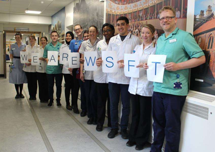 Staff at West Suffolk NHS Foundation Trust celebrate the results of the 2017 National NHS staff survey