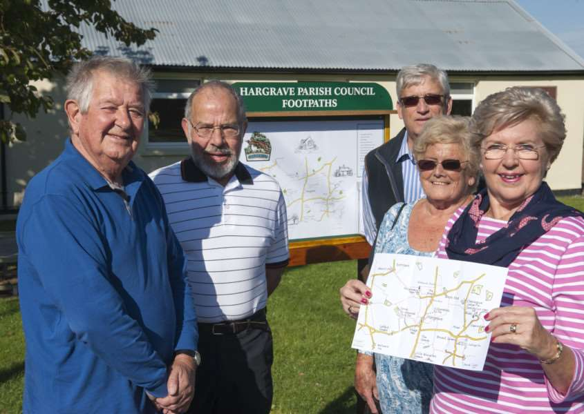 David Willcox, Vic Turner (footpath warden), Colin Painter (parish council chairman), Lorna Willcox and Brenda Corbett