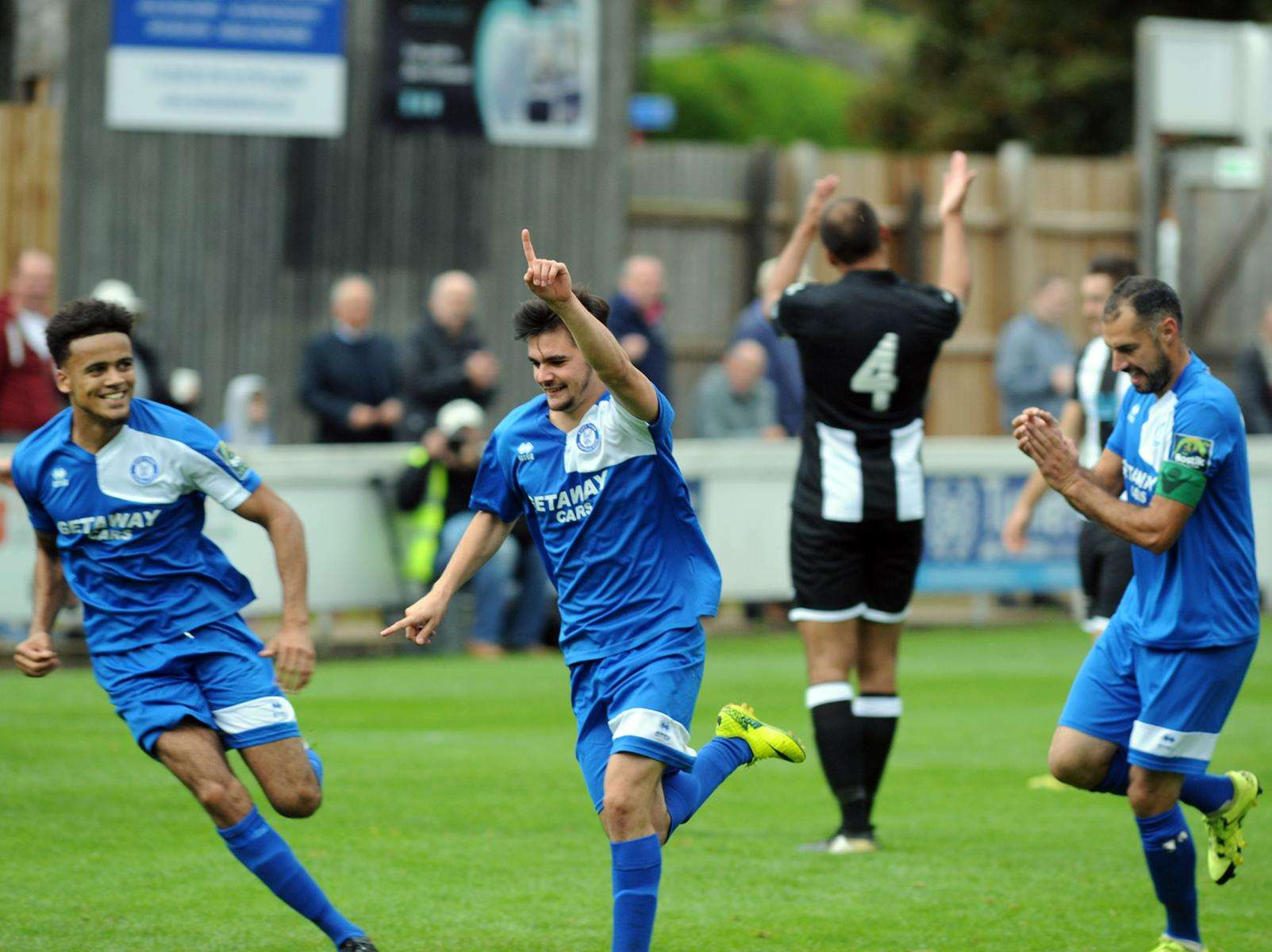 Bury Town's hat-tick hero Cemal Ramadan celebrates one of his goals Picture: Andy Abbott