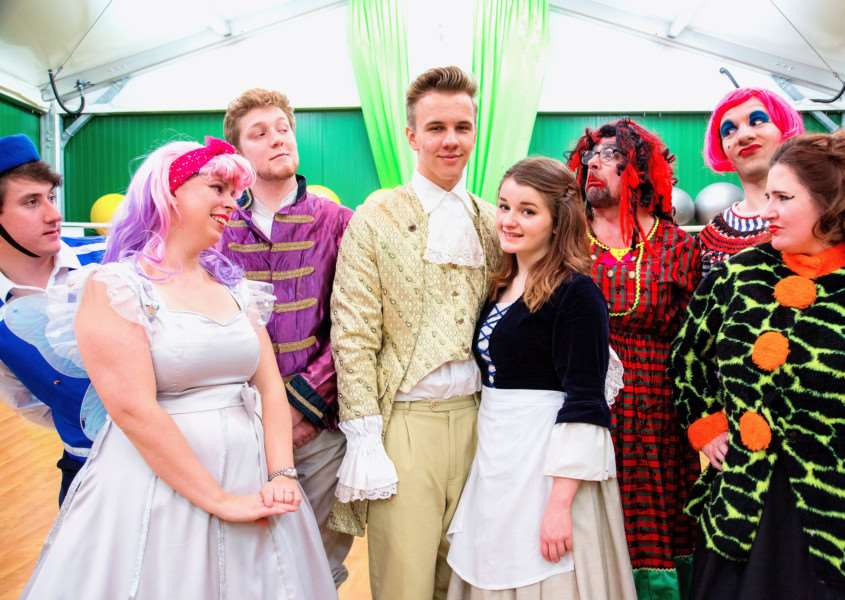The principles cast members in the Centre Stage Company's 2017 pantomime, Cinderella. 'Charlotte Kowalski (Cinderella), Chris Griffey (Prince), Cian Harriss (Dandini), Niick Selin (Buttons), Jacqui Player (Fairy Godmother), Emma Letcher (Stepmother), Steven Roach and Graeme Johnson (Stepsisters). Picture by Andy Mayes; Idyllic Imagery ANL-170901-112807001