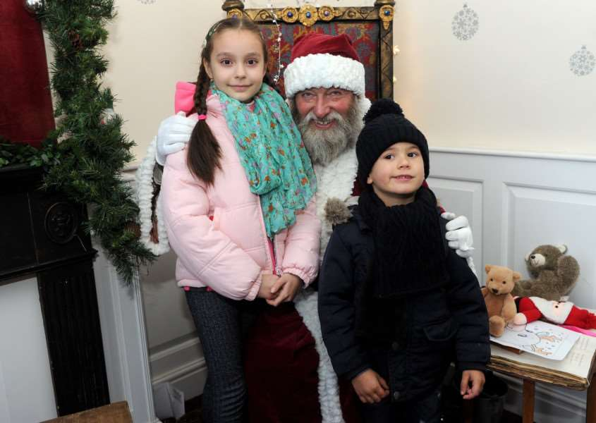 Long Melford Olde Christmas''Pictured: Alexandra Malin (8) and Jack Miller (4) visiting Santa '''PICTURE: Mecha Morton