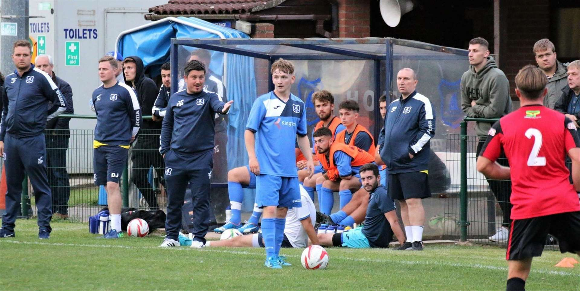 NEW SIGNING: Robbie Sweeney (pictured with Tom Parke behind him, left) has joined Stowmarket Town