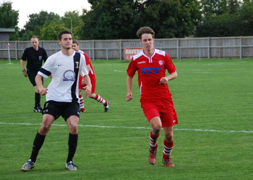Luke Haines during his debut for Haverhill Rovers against Swaffham Town ANL-150923-092116002