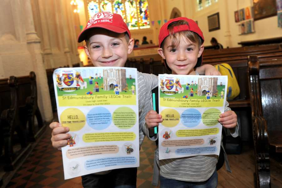 Lego launch at Bury cathedral ''Pictured: Lucas (7) and Oliver (5) Salmons on the lego trail ANL-160530-192913009