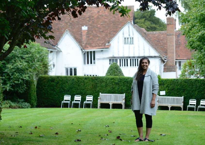 Lavenham, Suffolk. Lavenham Open Gardens event to raise money for St Nicholas Hospice. Pictured is Ruby Sayed in her garden at the Priory on Water Lane. ''Picture: MARK BULLIMORE