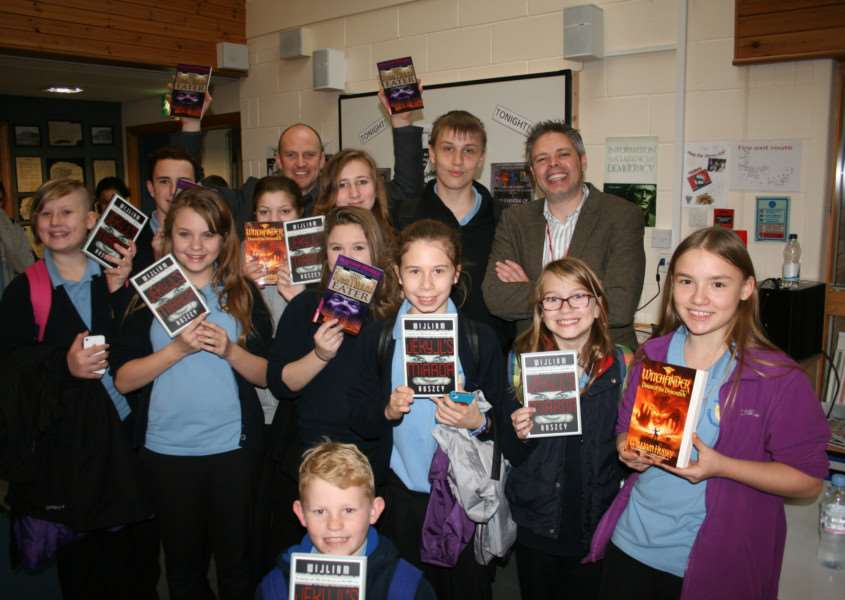 Author William Hussey with students at Thurston Community College