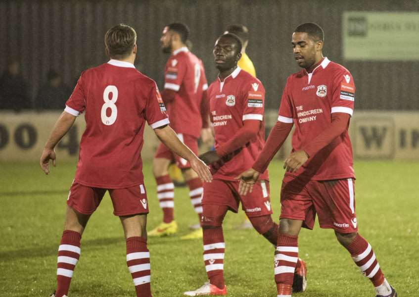AT THE DOUBLE: Reece Dobson (right) scored both of Needham's goals against Harlow