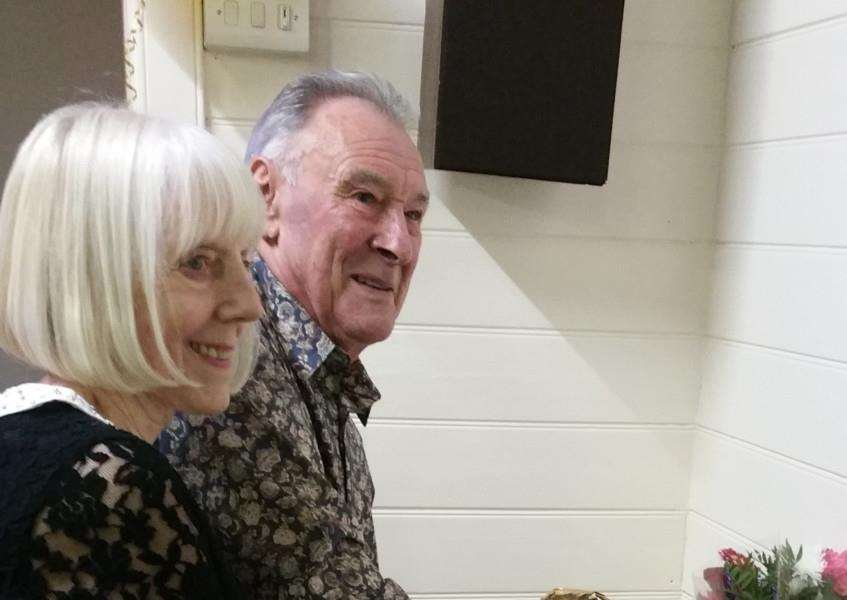 Clive and Linda Albon cut the cake at their Golden Wedding party.