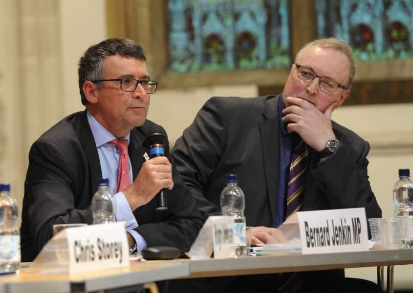 Suffolk Free Press EU referendum debate''Pictured: Bernard Jenkin MP ANL-160606-093040009