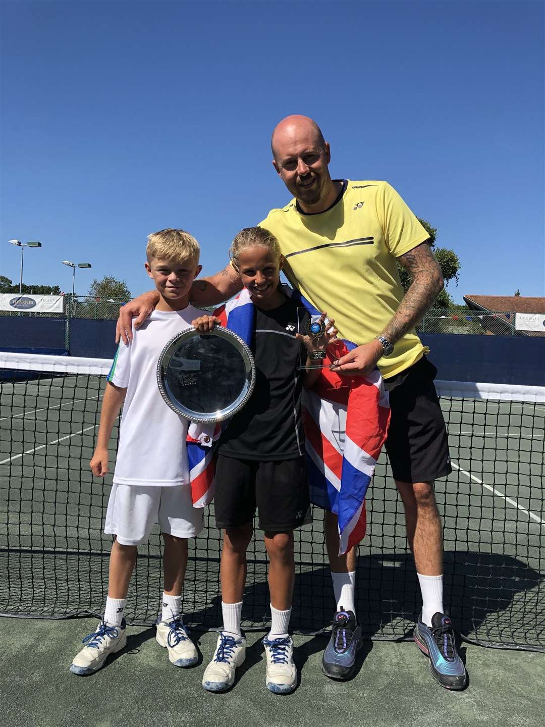 Freddie Clarke in white, Herbie Morris in Black, Paul Hope (Titan Tennis) in Yellow. Herbie (1st) and Freddie (4th) competed for Risbygate Tennis Club at the British U10 Championships. Picture: Contributed (16032725)