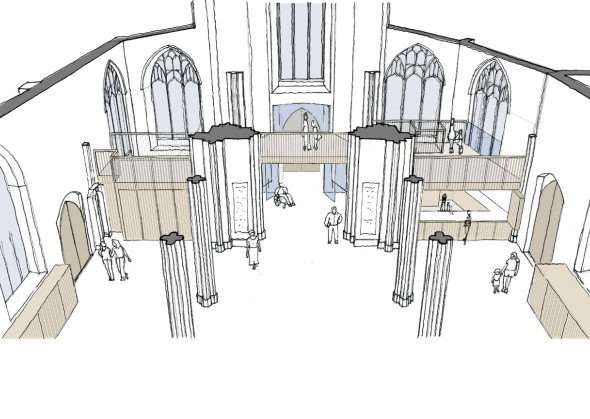 Artist's impression of the improvements to St Peter's Sudbury. ANL-160125-173805001