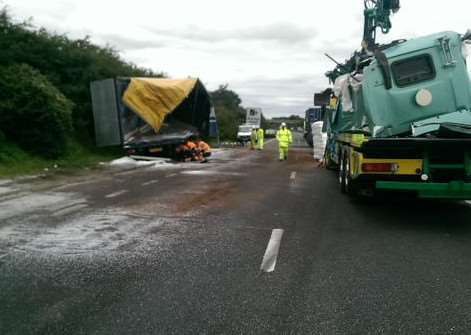 The scene on the A14 westbound