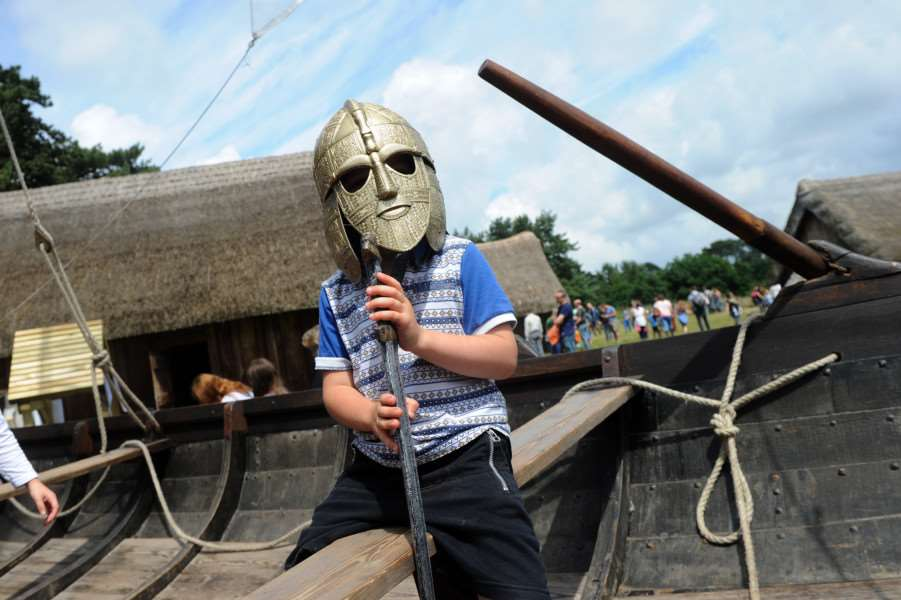 West Stow Dragon Festival 2016''Pictured: Thurston Harper (5) on the replica Anglo Saxon boat and armour ANL-160626-201143009