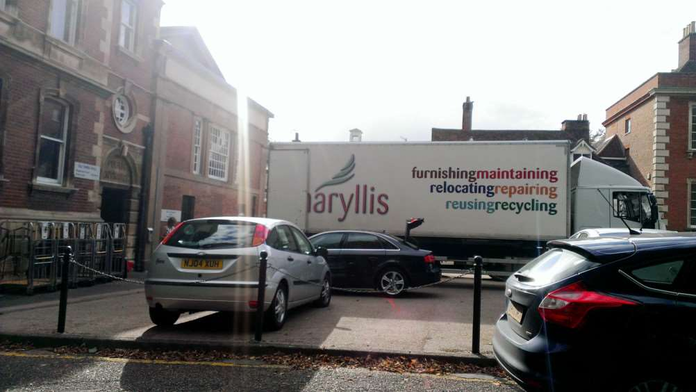 Removals truck at Bury Magistrates' Court