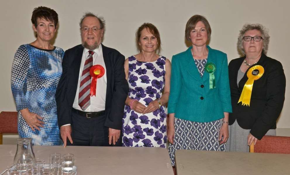 Jo Churchill, Bill Edwards, Hustings chair Julie Pierce, Helen Geake and Helen Korfanty