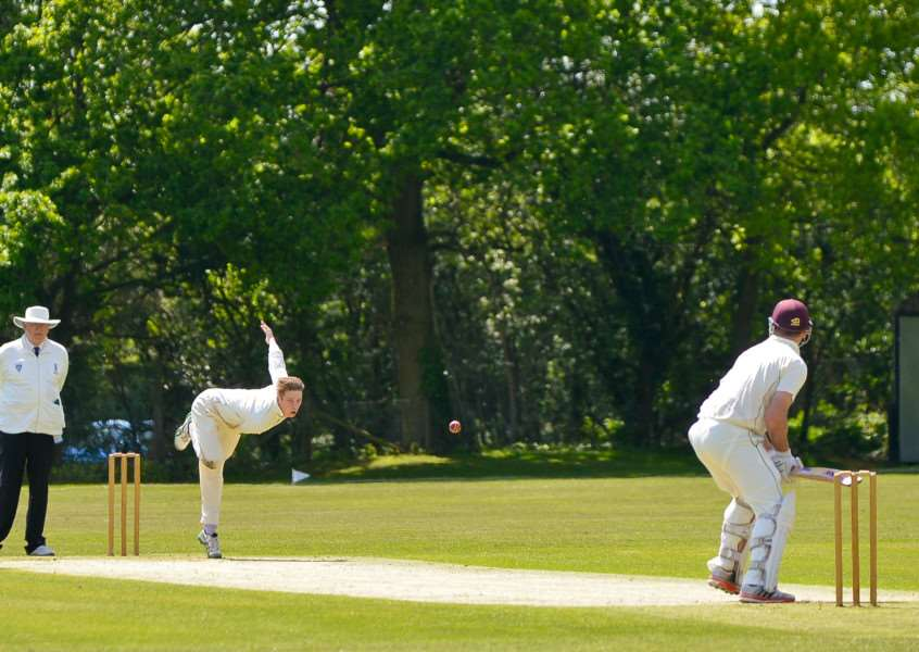 SUDBURY SUCCESS: Halstead's Harry Veal tests Tom Huggins of Sudbury during the visitors' 39-run victory.