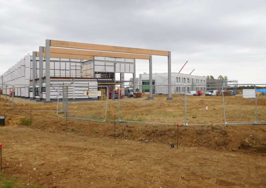 The ongoing Sybil Andrews Academy build on Moreton Hall, Bury St Edmunds