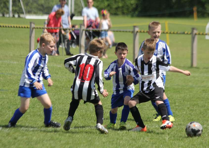 Action from the KBB Suffolk FA Grassroots Festival as Haughley United (black & white stripes) take on Kesgrave Kestrels (blue & white stripes) at Gainsborough Sports Centre in Ipswich on Saturday