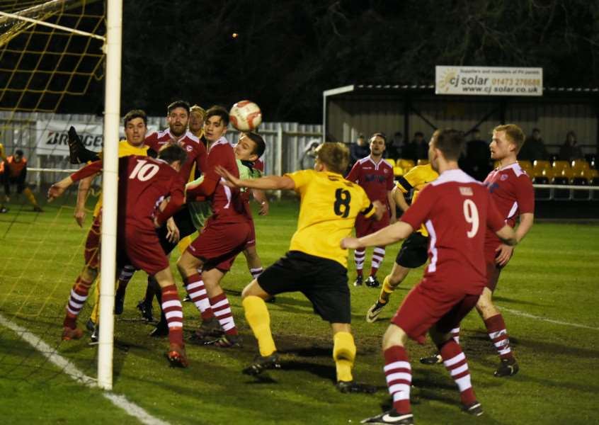 DEFENSIVE UNCERTAINTY: A Mildenhall corner causes problems in the Haverhill penalty area