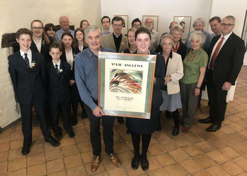 Family of Sybil Andrews met with staff and students from Sybil Andrews Academy, councillors and other community figures to celebrate the 120th anniversary of the artist's birth