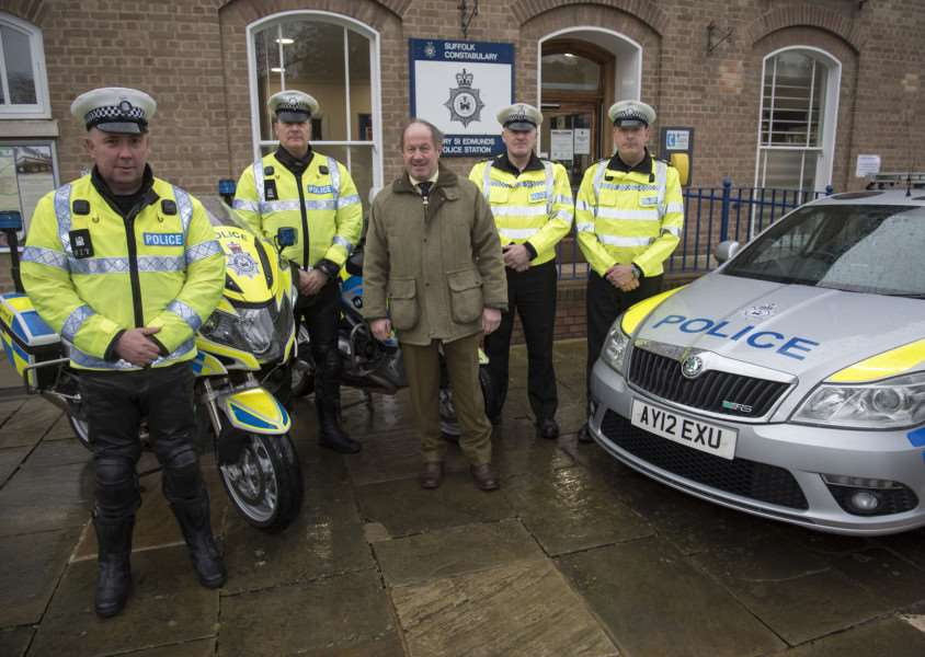 Police and Crime Commissioner Tim Passmore launching the new roads policing team - 'PCs John Shuard, Hylton Garrick, Dave Shaw and Paul Fletcher.' Picture Mark Westley ANL-160903-132319009