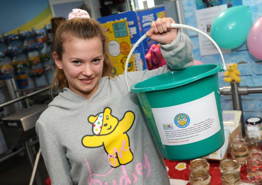 Phoebe Hastings, aged 14, hosted a craft stall at Abbeycroft Leisure Centre in aid of Children in Need'''PICTURE: Mecha Morton