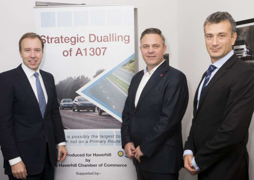 From left: Matthew Hancock MP, Haverhill Chamber of Commerce chairman Paul Donno and Nikos Savvas, New Anglia LEP board member, at the launch of the A1307 dualling campaign ANL-151210-155605001