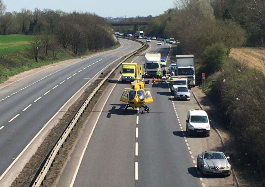 The A14 near Beyton was closed while the East Anglian Air Ambulance landed to take a man who had been in collision with a lorry to Addenbrooke's Hospital. 'Picture: Colin Kennedy