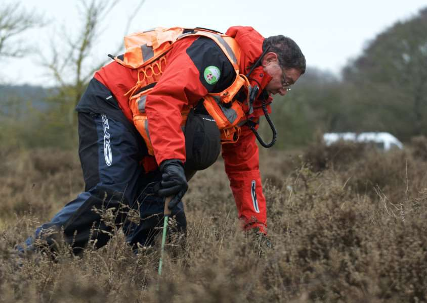 Cavenham, Suffolk. Members of the Suffolk Lowland Search and Rescue (SULSAR) performing a through search of Cavenham Heath in the third public search for the missing RAF serviceman Corrie McKeague. ''Picture: MARK BULLIMORE