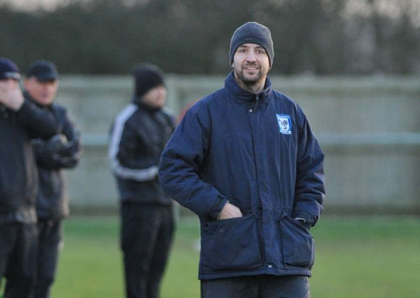 Ben Cowling at his final game as manager of Haverhill Borough, a 0-0 draw with league leaders Long Melford