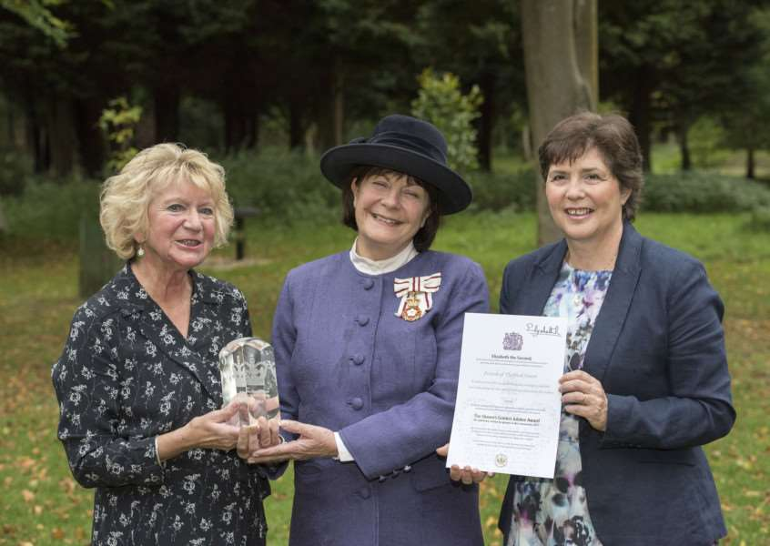 The Lord Lieutenant of Suffolk, Clare, Countess of Euston, presents Anne Mason, Chair of the Friends of Thetford Forest (FoTF) with the Queen's Award for Voluntary Service, with Morag Truscott, long serving volunteer, also pictured. Picture Mark Westley