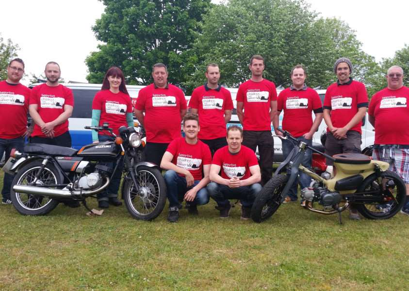 Some of the members of the 'Wobbly Sausage Biker Gang' who plan to ride from Lakenheath to Land's End using back roads