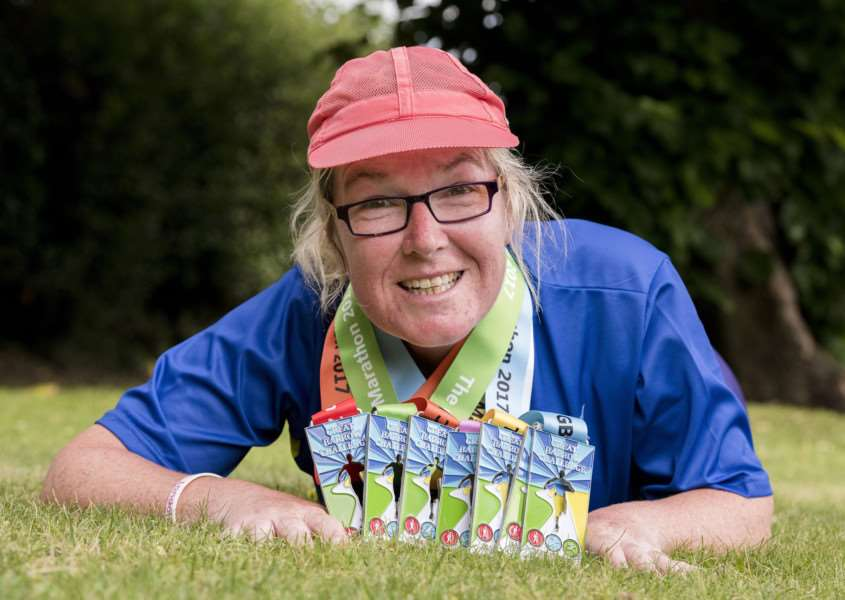 Melanie Sturman with some of her 2017 '10 in 10' medals