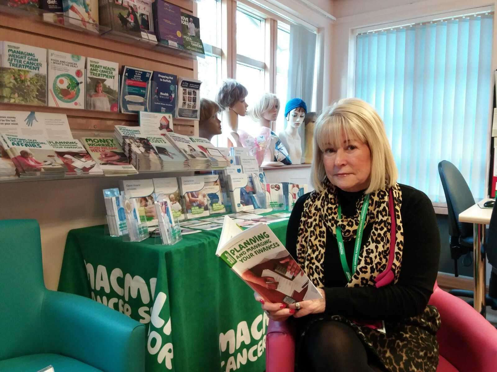 Pat in the West Suffolk Macmillan Centre, where she supports patients as part of a team.