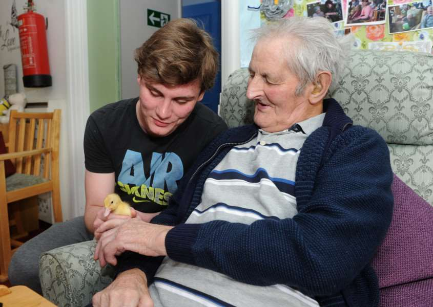 Risby Hall care worker Shaun Keeley with resident Ned Hudson