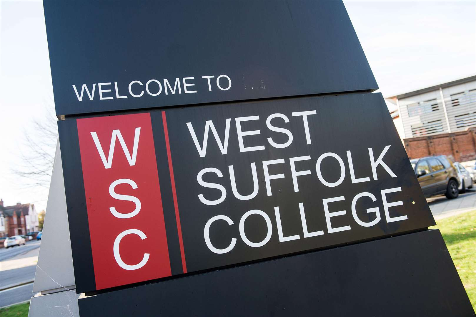 Bury St Edmunds West Suffolk College sign Picture Mark Westley. (6630288)