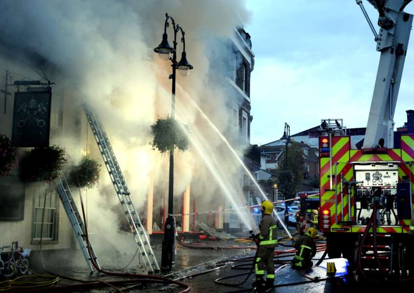Firefighters tackle the serious fire at the Cycle King shop on Angel Hill in Bury St Edmunds.''Picture: ANDY ABBOTT