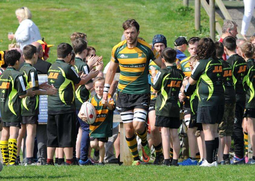 NEW INTERNATIONAL: Matt Edison leads out Bury St Edmunds against champions Cinderford on Saturday. Picture: Mecha Morton