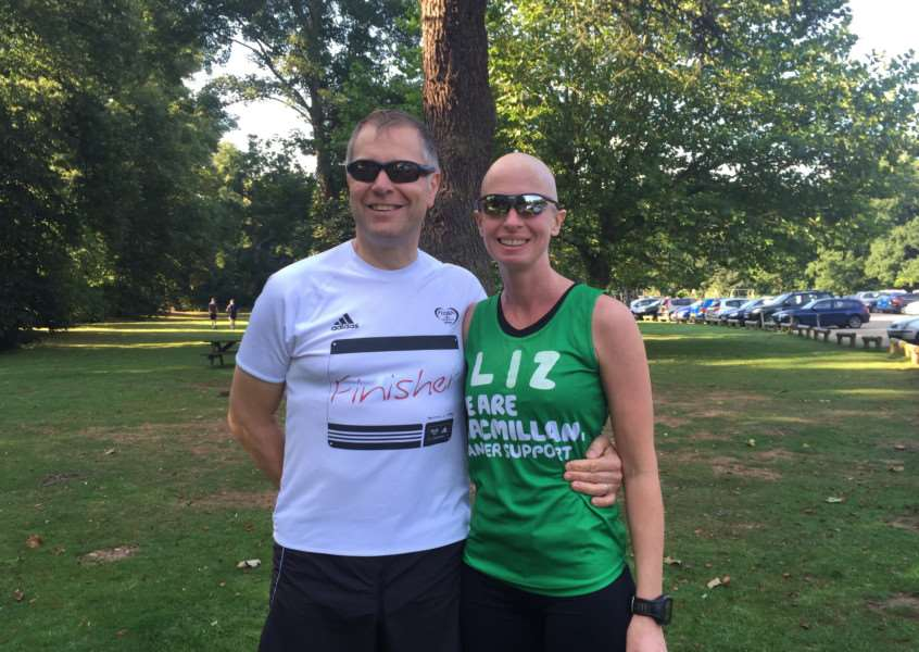 Liz O'Riordan at her first park run with her husband Dermot in August 2015 ANL-160824-130244001