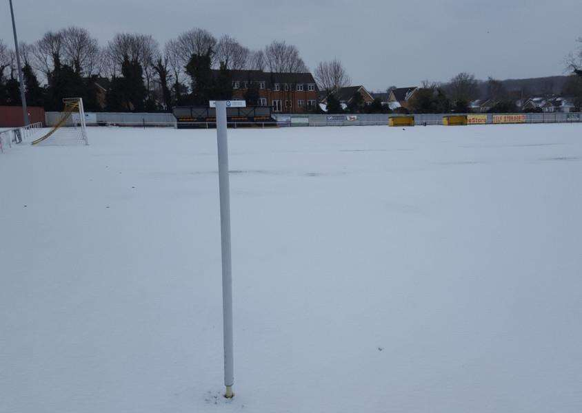 GAME OFF: Mildenhall's Recreation Way ground was covered in snow over the weekend