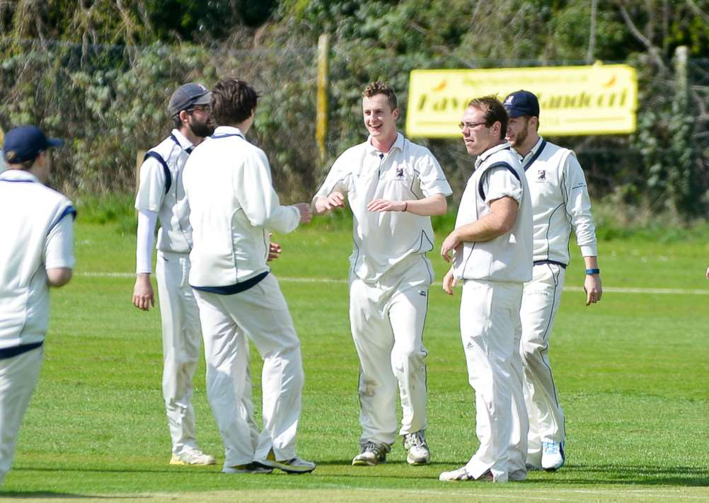Joe Woodley celebrates the dismissal of Hadleigh's Tom Piddington during Haverhill's five wicket win