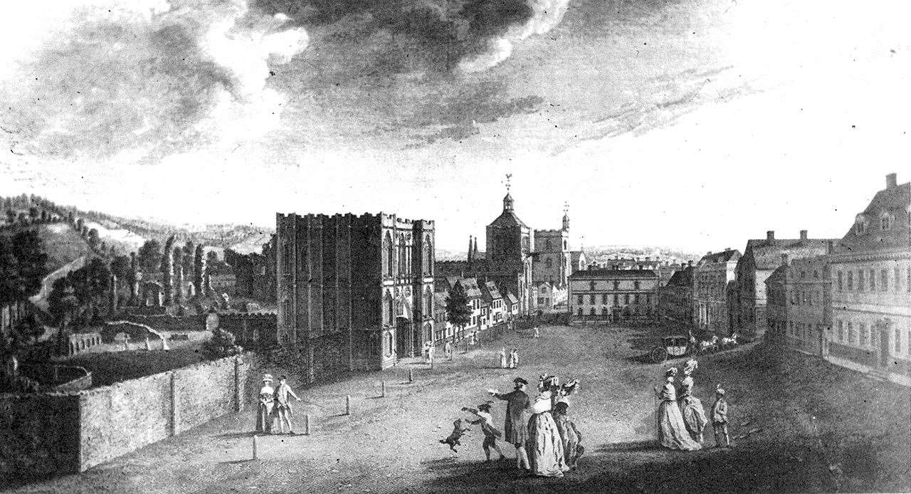 A section of View of Angel Hill, in Bury St Edmunds, by print maker Jacob Kendall from 1777.