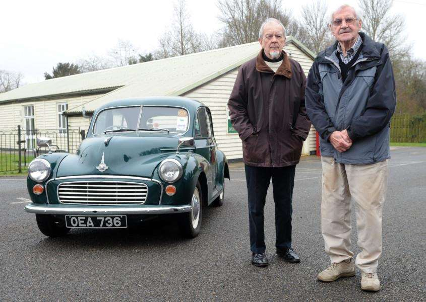 Rob Barber and his friend Ken Stockton, both in their 80s, are planning a tour round Norfolk's WW2 airfields in a 1956 Morris Minor to raise money for the village hall and the RAF Association. ''''PICTURE: Mecha Morton