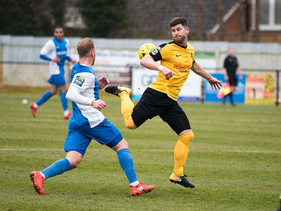 NOT HALL'S DAY: Gareth Simpson attempts to gain control of a loose ball against Barking Picture: Mark Westley