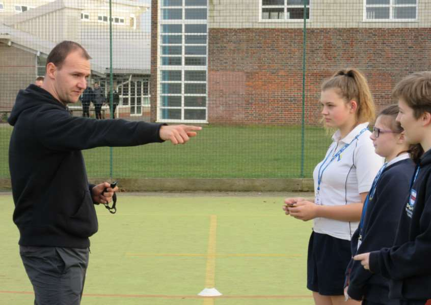Premier League referee Bobby Madley was guest of honour at a Leadership, Coaching and Volunteering Conference at King Edward VI School, in Bury St Edmunds ANL-160102-143553001