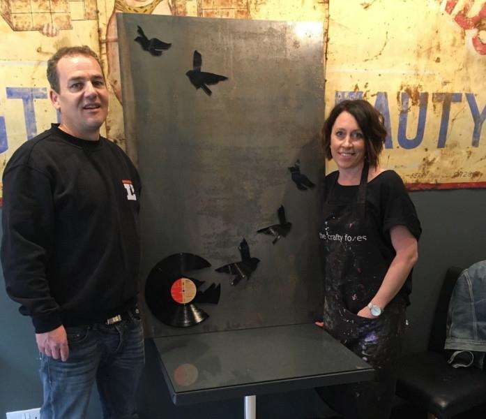 Mike Garling and Michelle Freeman with a mock up of 'Silent Soldiers' in Bury St Edmunds bar LP